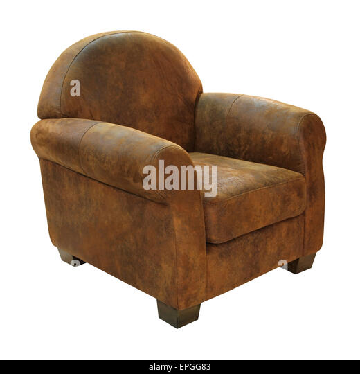 Leather armchair - Stock Image