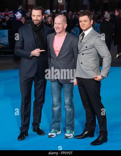 London UK. 17th March, 2016.  Hugh Jackman, Eddie Edwards, Taron Egerton attends the European Premiere of Eddie - Stock Image
