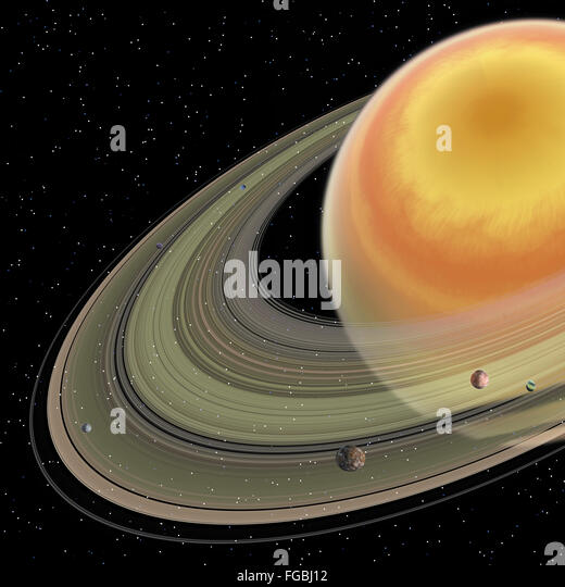Saturn is the sixth planet in our solar system and has planetary rings with 150 moons. - Stock Image