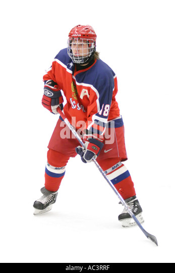 Russian ice hockey player Denis Trakhanov on white background in an international tournament for 17 year old teenagers. - Stock Image