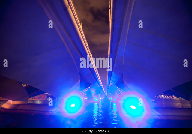 Underside of bridge, Singapore - Stock Image
