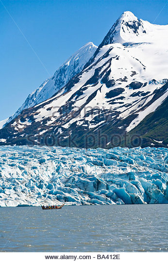 Canoeing at Spencer Glacier in the Placer River Valley of Southcentral Alaska during Summer - Stock Image