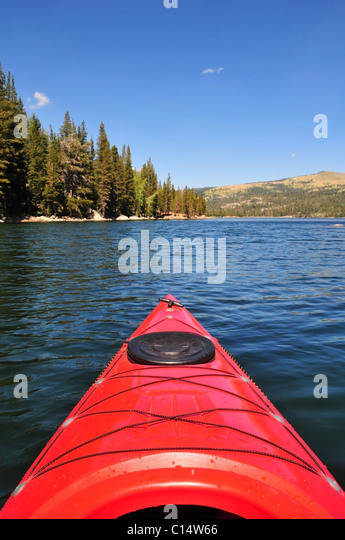 A first person view of kayaking on Caples Lake near Kirkwood, CA in the Sierra Nevada. - Stock Image