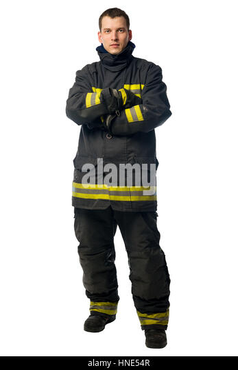 portrait of a young firefighter in dirty work clothes isolated on white background - Stock Image