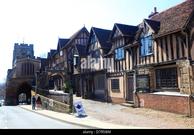 Historical houses at Warwick , originally Lord Leycester Hospital in 1571. - Stock Image