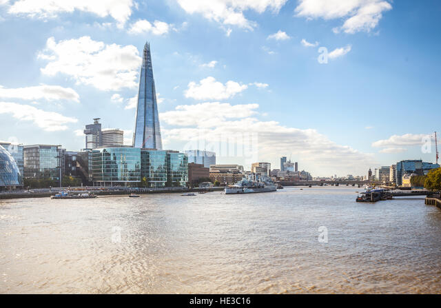 London UK, The Shard skylines and Thames river - Stock Image