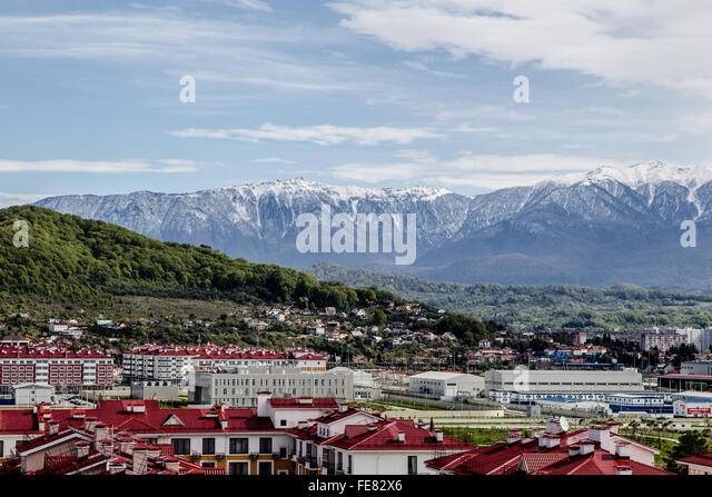 Olmypic village, Sochi in front of the Caucausus mountains - Stock Image