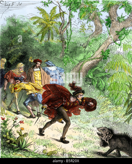 Columbus encountering an iguana when he was ashore in the New World - Stock-Bilder