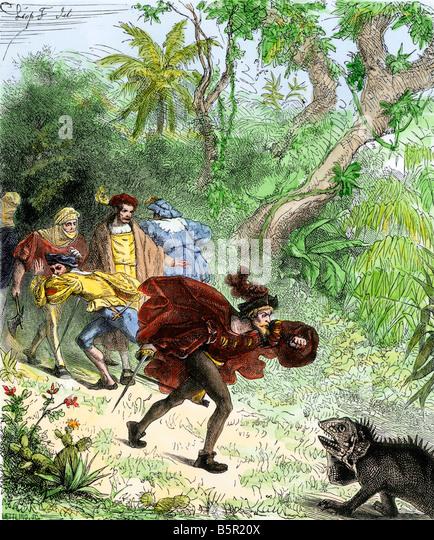 Columbus encountering an iguana when he was ashore in the New World - Stock-Bilder