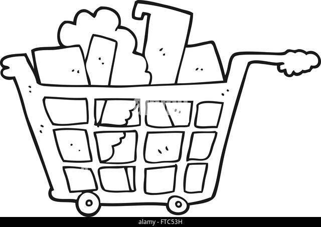 Freehand Drawn Cartoon Shopping Trolley Stock Photos