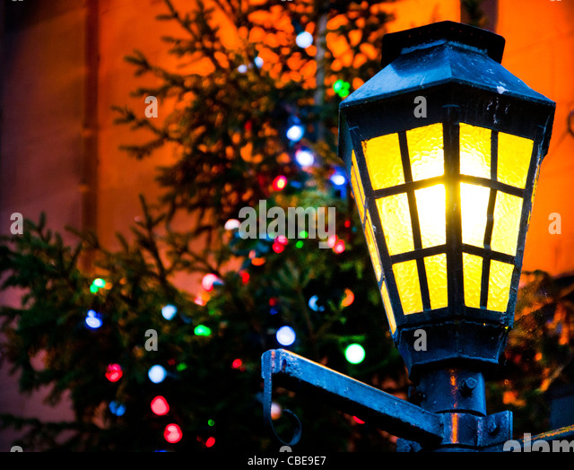Victorian lantern and Christmas tree - Stock Image