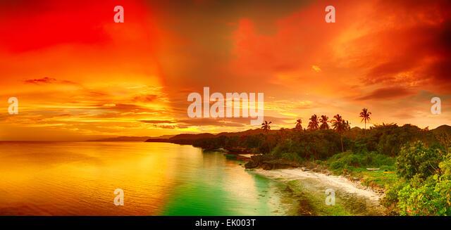 Beautiful seascape panorama. Coastline at sunset time. Philippines - Stock Image
