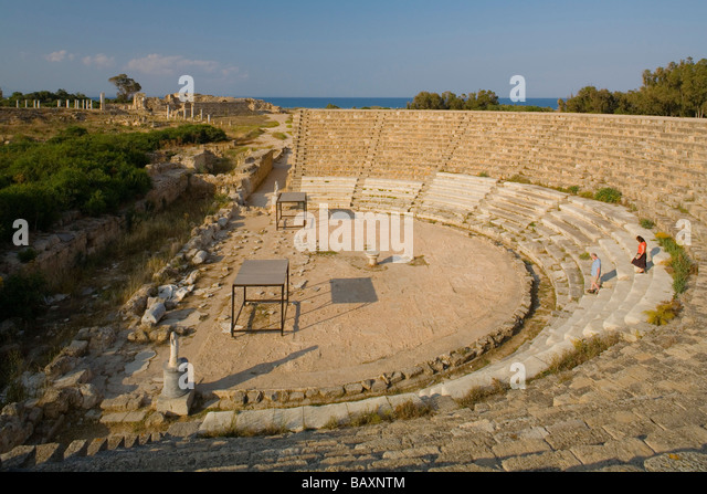 Salamis Antique Theatre, Ruins, Archaeology, Salamis, North Cyprus, Cyprus - Stock Image