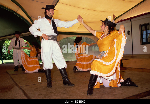 Traditional dance Fiesta Gauchos Montevideo Uruguay South America - Stock Image