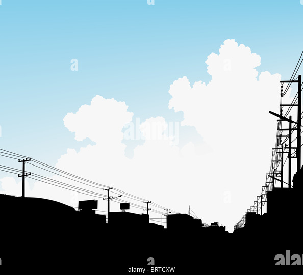 Illustration of clouds over a city with copy-space - Stock Image
