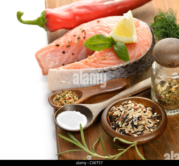 Slice Of Salmon And Wild Rice With Spices - Stock Image