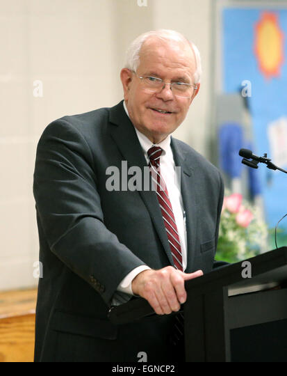Gwinnett County Schools superintendent Alvin Wilbanks speaks during a presentation for Mason Elementary guidance - Stock Image