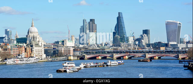Panoramic City of London skyline & cheesegrater building (tallest middle) & walkietalkie building (far right) - Stock Image