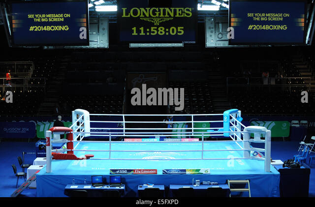BOXING RING BOXING SECC GLASGOW SCOTLAND 30 July 2014 - Stock Image