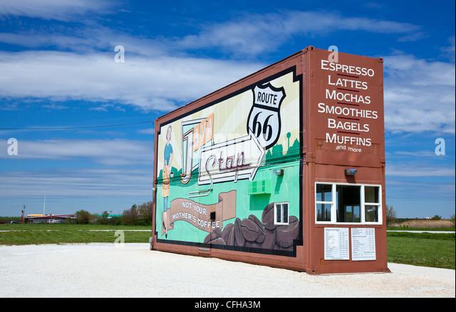 USA, Illinois, Pontiac, Coffe shop on Route 66 - Stock Image