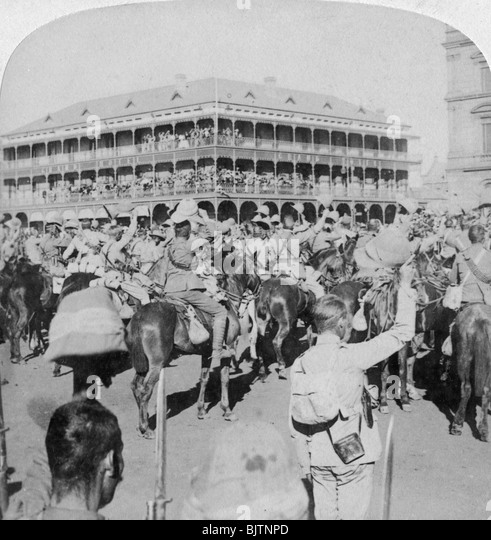 Field Marshal Lord Roberts and staff cheering the Queen, Pretoria, South Africa, 5th June 1901. - Stock Image