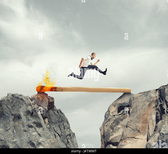 Hurry up and overcome the obstacle - Stock Image