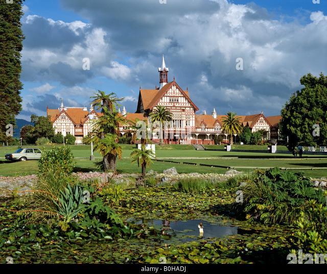 Bath House, Government Gardens, Museum of Art and History, Rotorua, North Island, New Zealand - Stock-Bilder
