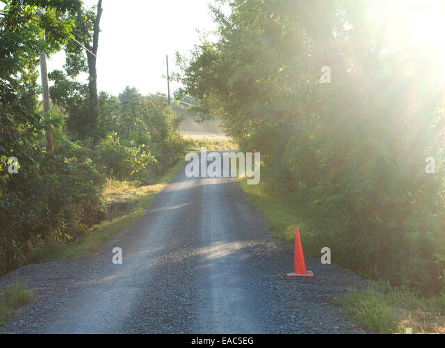 end of day light and country road - Stock Image