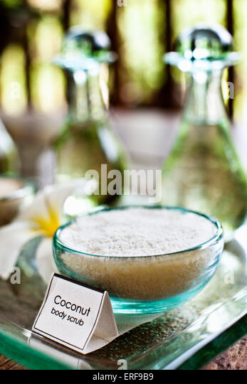 Bowl of coconut body scrub, Ayung Spa, Ubud Hanging Gardens, Bali, Indonesia. - Stock Image