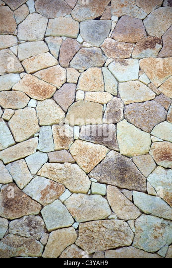 Crazy Paving Wall Construction - Stock Image