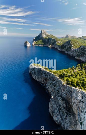 View from the Mirador d es Colomer, Mirador de Mal Pas, Cap de Formentor, Formentor, Mallorca, Balearic Islands, - Stock Image