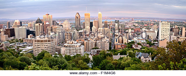 Panoramic Photo Montreal city fron Mount Royal - Stock Image