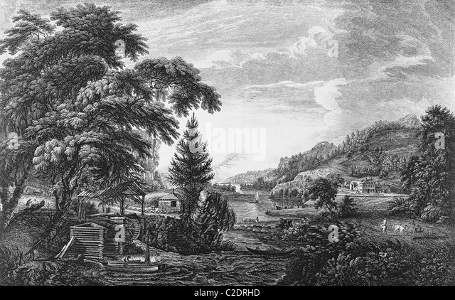 Beginning and completion of an American settlement - Stock Image