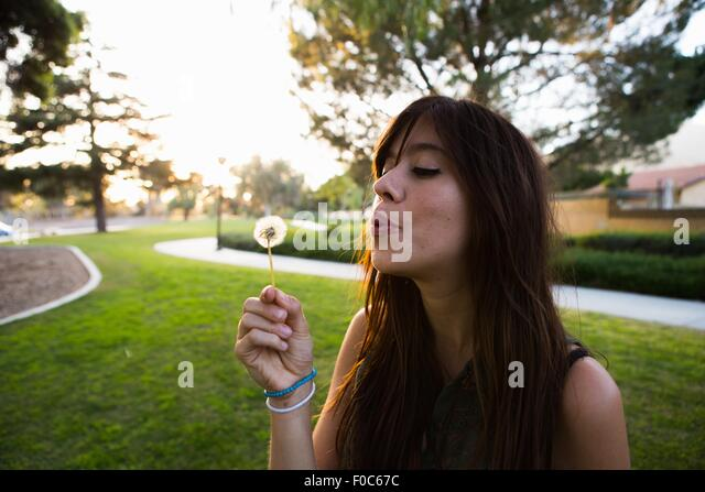 Young woman blowing dandelion clock in park - Stock Image