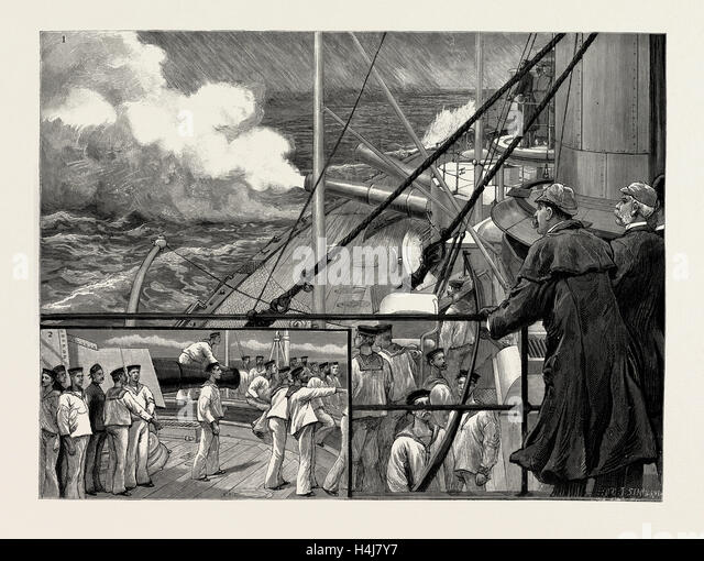 The gunnery trials of the latest ironclad, H.M.S. 'Victoria', The Blue Jackets watching the firing from - Stock Image