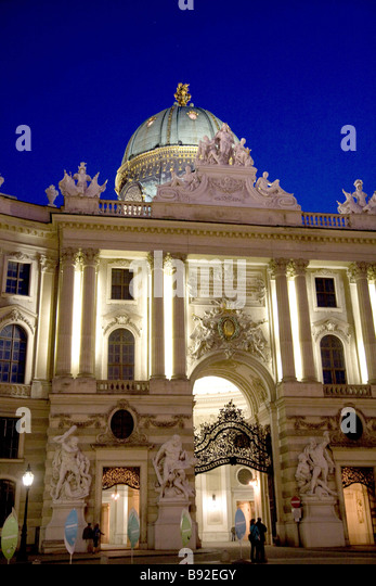 Entrance to Hofburg at night Vienna Austria - Stock Image