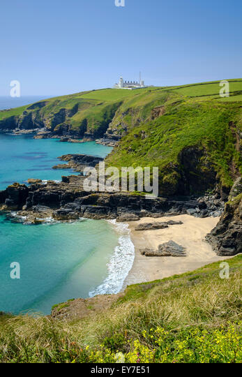 Cornwall UK - Lizard Point lighthouse and Housel Bay cove beach, Lizard Peninsula - Stock Image