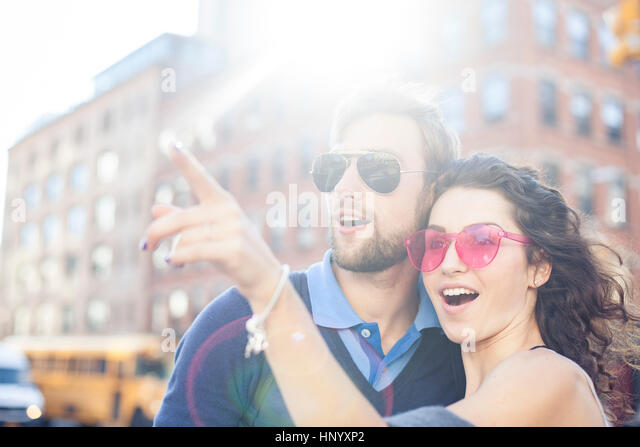 Couple sightseeing together - Stock Image