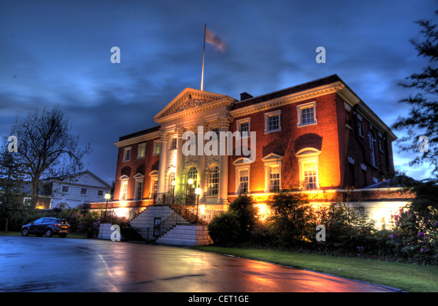 Dusk At Warrington Town Hall Cheshire England UK - Stock Image