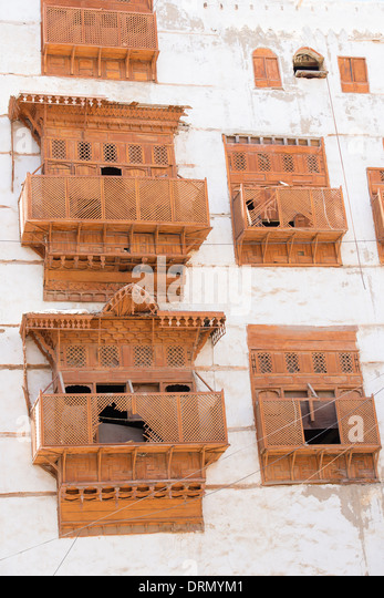 Detail of buildings in Al-Balad (Old Town) Jeddah, Saudi Arabia UNESCO World Heritage Site - Stock Image