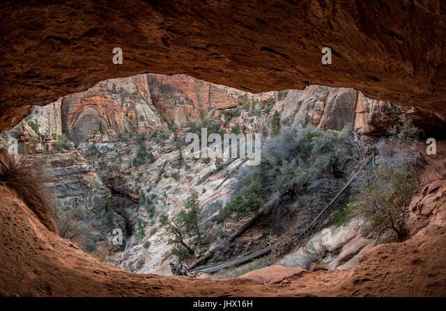 Canyon Overlook Grotto with Fisheye lens effect - Stock Image