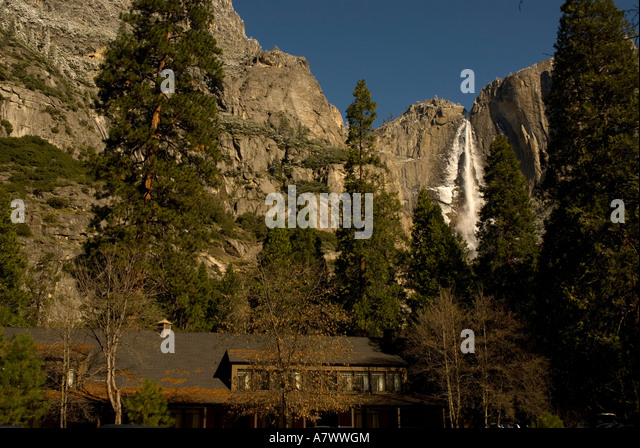Yosemite Falls waterfall flowing - Stock Image