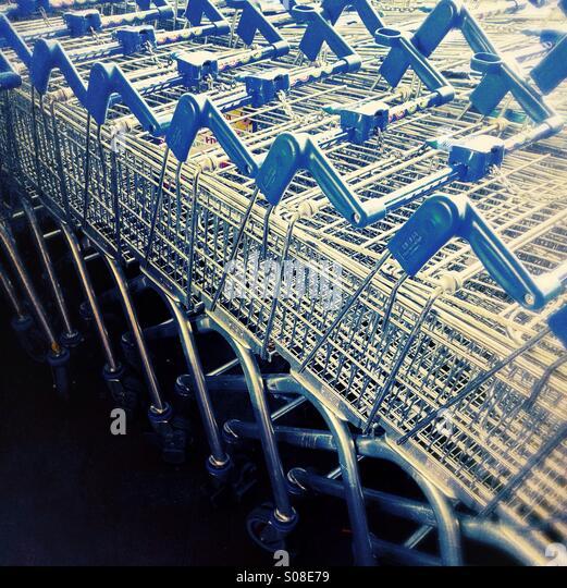 Shopping trolleys - supermarket trolleys - Stock Image
