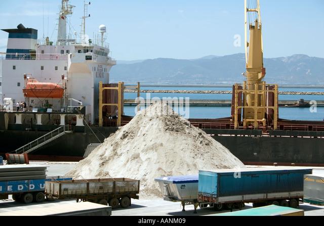 Shipment of salt at Cagliari Harbour, Sardinia, - Stock Image