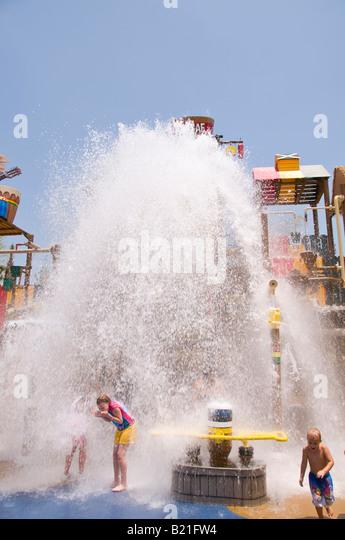 water bucket dumps on tourists Freestyle Music Park former Hard Rock Park Myrtle Beach tourists children South Carolina - Stock Image
