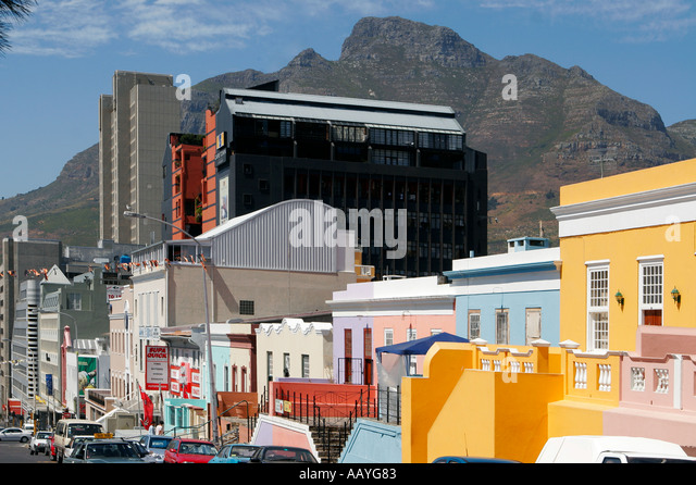 cape town Bo Kaap colorful facades office buildings table mountain - Stock Image