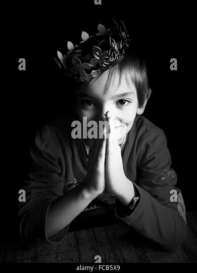 Portrait Of Boy Wearing Crown - Stock Image