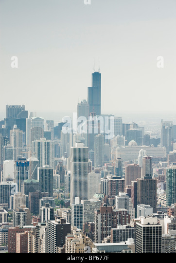 Aerial photograph of downtown Chicago - Stock Image