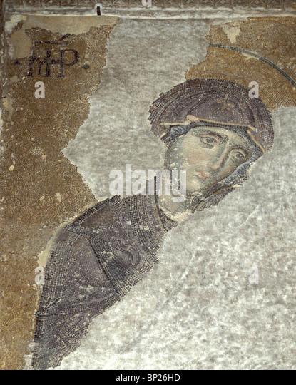 1096. THE VIRGIN MARY, 9TH. C. MOSAIC FROM HAGIA SOPHIA, ISTAMBUL - Stock Image