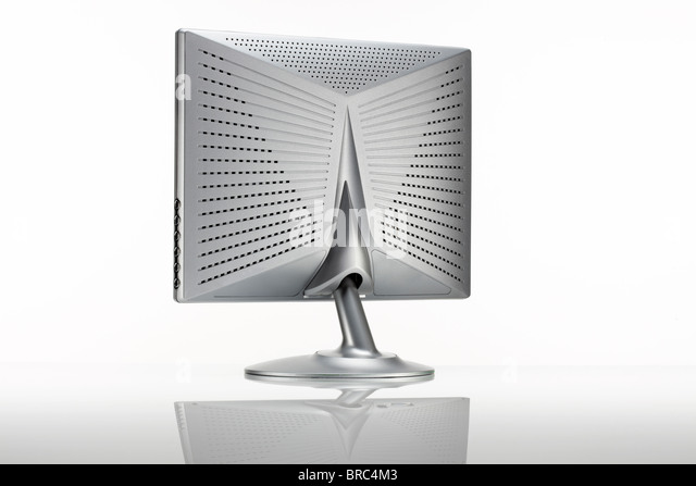 Silver LCD monitor, rear view - Stock Image